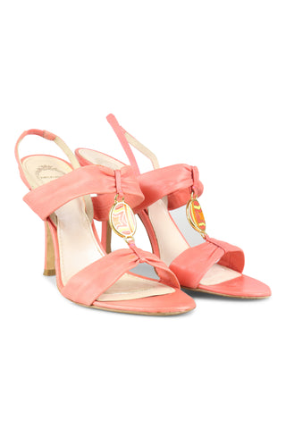 Coral leather sandals