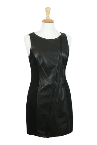 Black leather panel dress