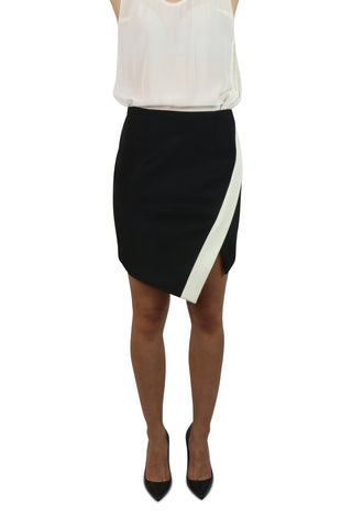 Black and white asymmetric skirt