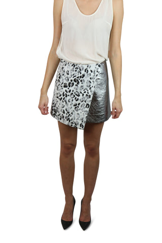 Silver and leopard wrap skirt