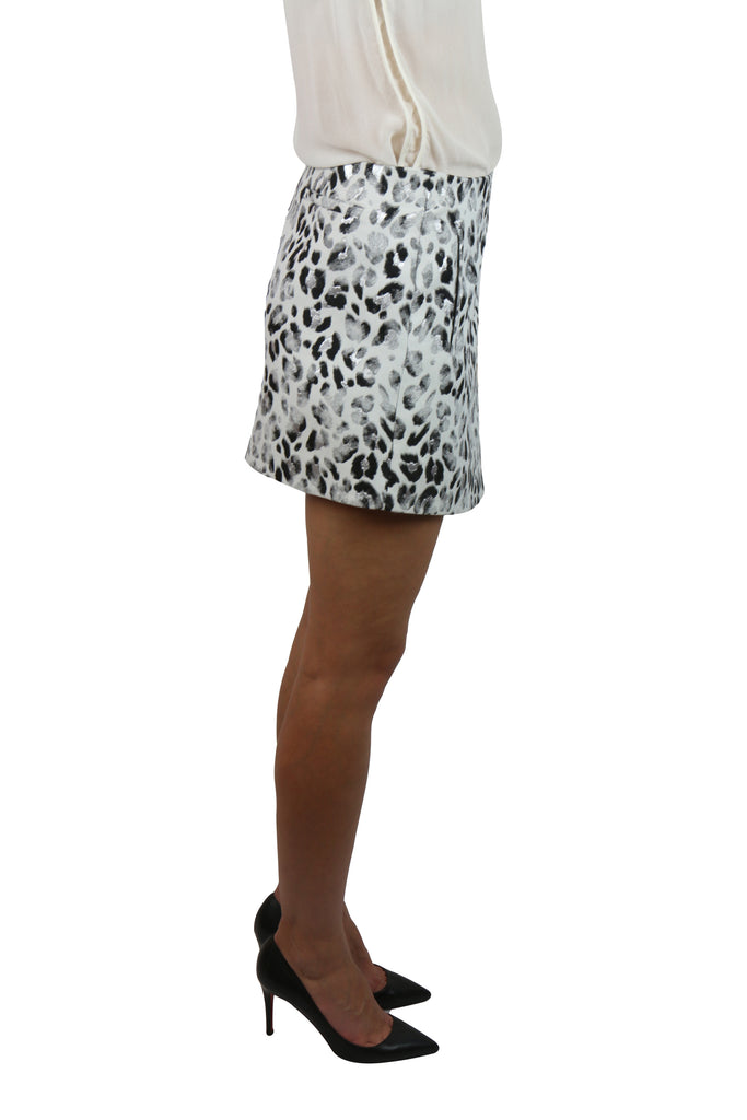 Josh Goot Silver and leopard wrap skirt