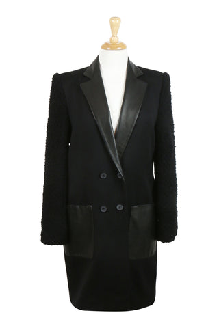 Double breasted black coat