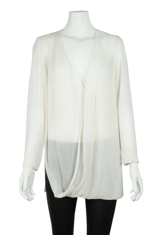 Cream silk cross over blouse