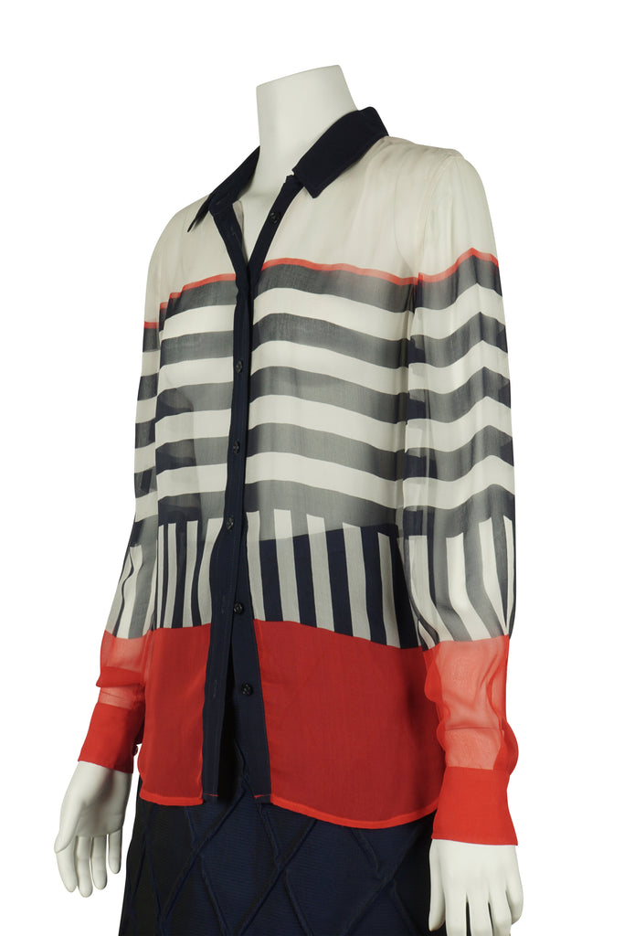 Equipment Chiffon stripe blouse