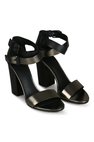 Lana leather lana black and silver sandals