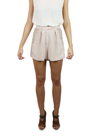 Champagne lace panel shorts