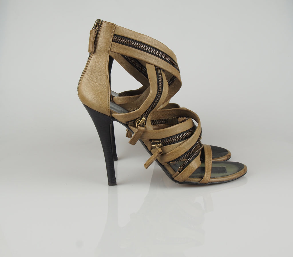 Balmain Tan strappy and zippy sandals