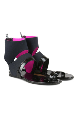 Black and pink cuff sandals