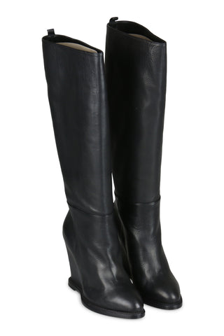 Black wedge leather boots