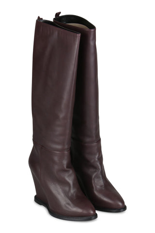 Burgundy wedge leather boots