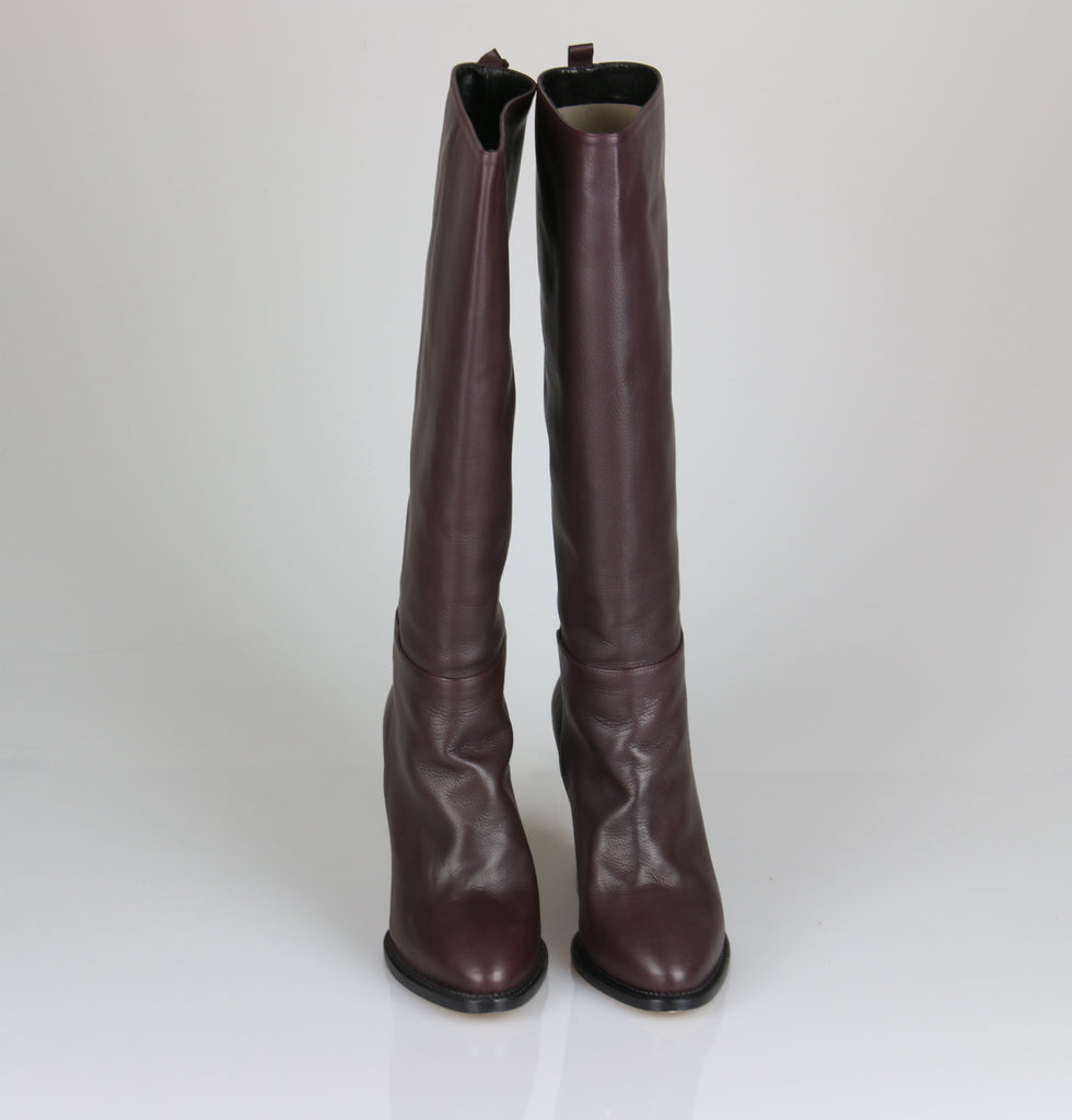 Scanlan & Theodore Burgundy wedge leather boots