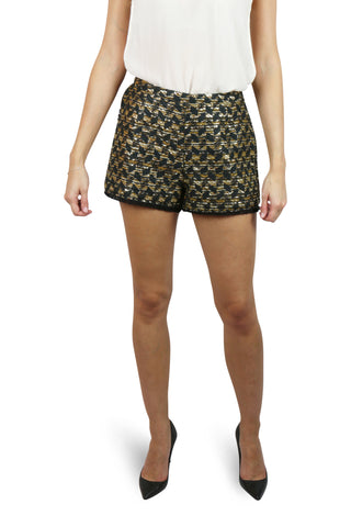 Black and gold fringed shorts