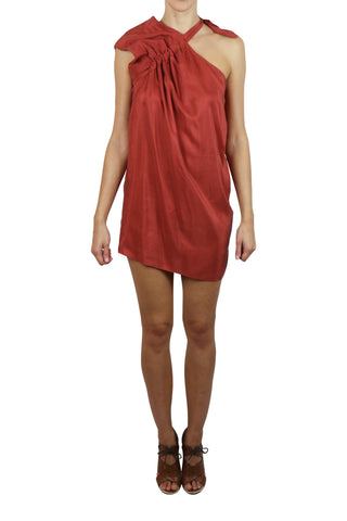 Silk shoulder-tie mini dress