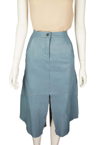 Talking point blue leather skirt