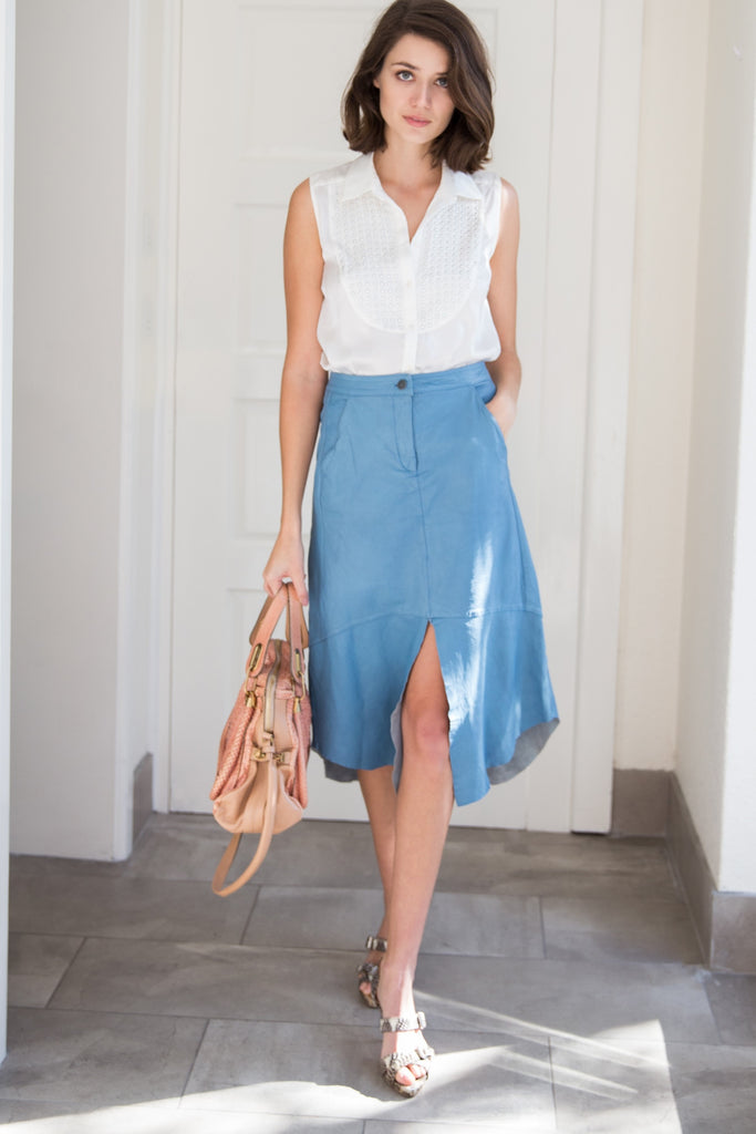 Manning Cartell Talking Point blue leather skirt