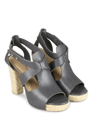 Roped bootie sandals in graphite