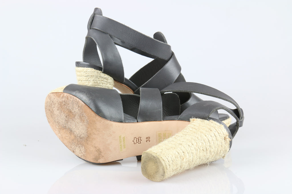 Scanlan & Theodore Roped Bootie sandals in graphite