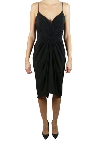 Balconette black silk dress