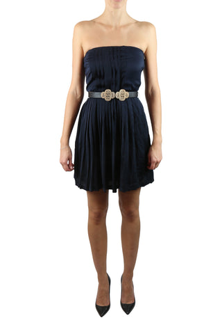 Strapless navy mini dress