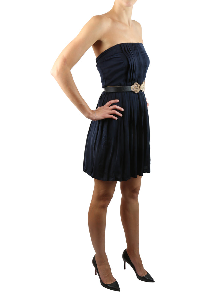 Sandro Strapless navy mini dress