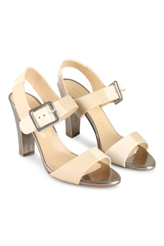 Beige and silver sandals