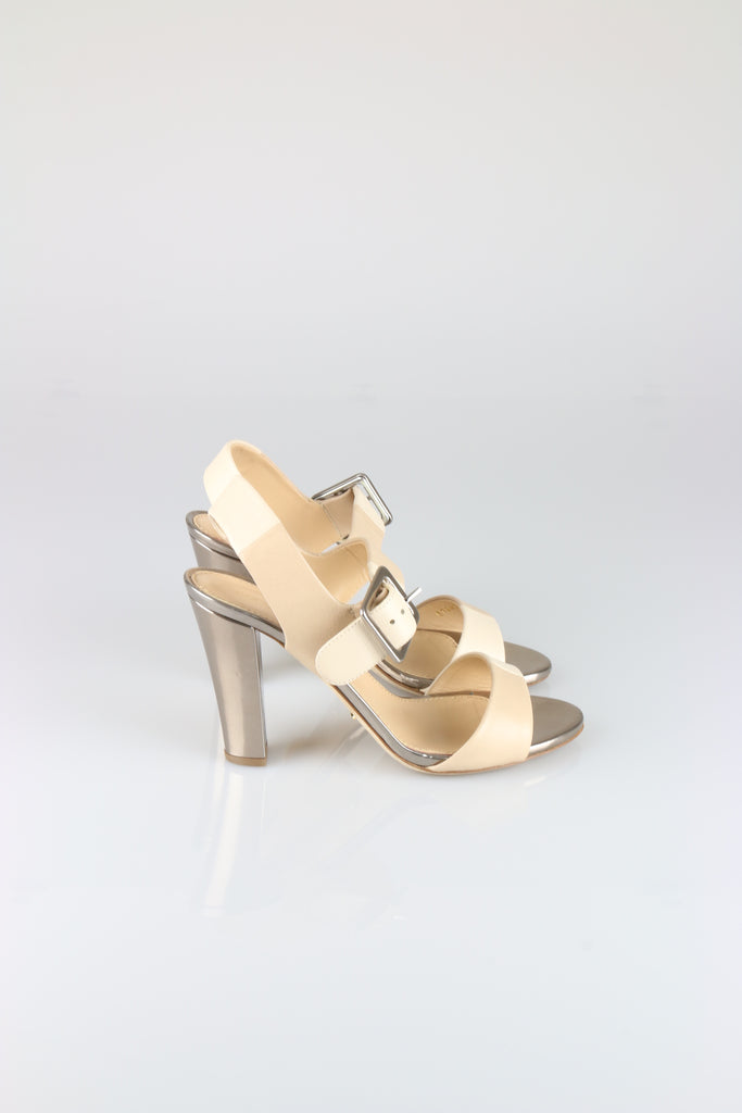Sergio Rossi Beige and silver sandals
