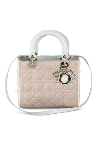 Lady dior (24cm) pink and white handbag