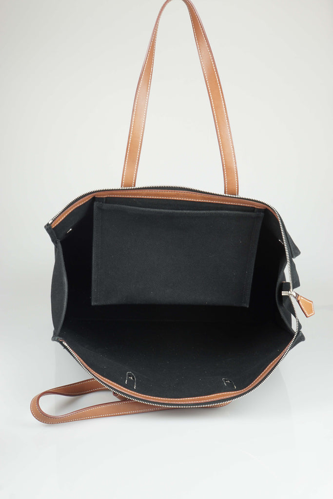 Hermes Mira black canvas vertical tote