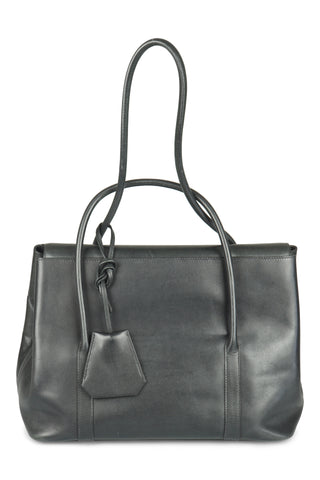 Black initiale by martin  margiela handbag (31cm) in swift leather