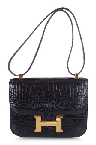 Constance mini shoulderbag in black alligator