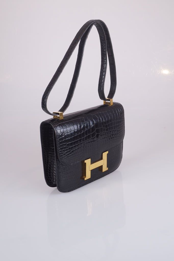 Hermes Constance Mini shoulderbag in black alligator