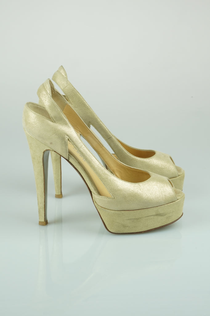 Elie SAAB Metallic gold platforms