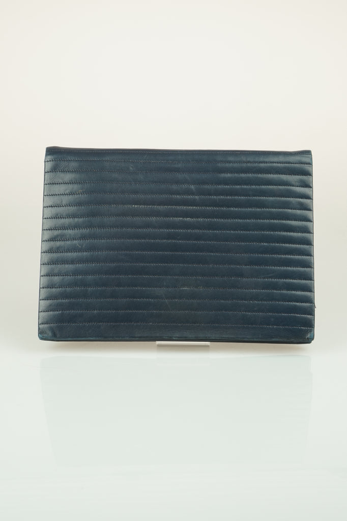 Saint Laurent Navy quilted clutch