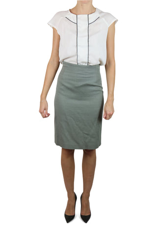 Grey wool-blend pencil skirt