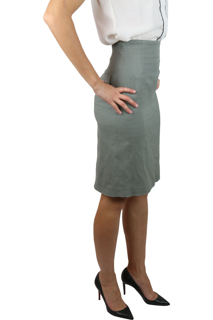 Willow Grey wool-blend pencil skirt