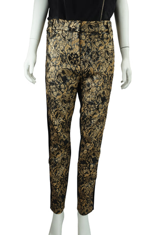 Gold brocade panel pants