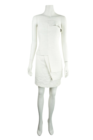 Strapless ivory leather trim dress