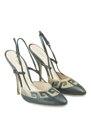 Greek key slingbacks