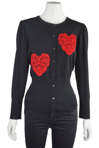 Red lace heart cardigan