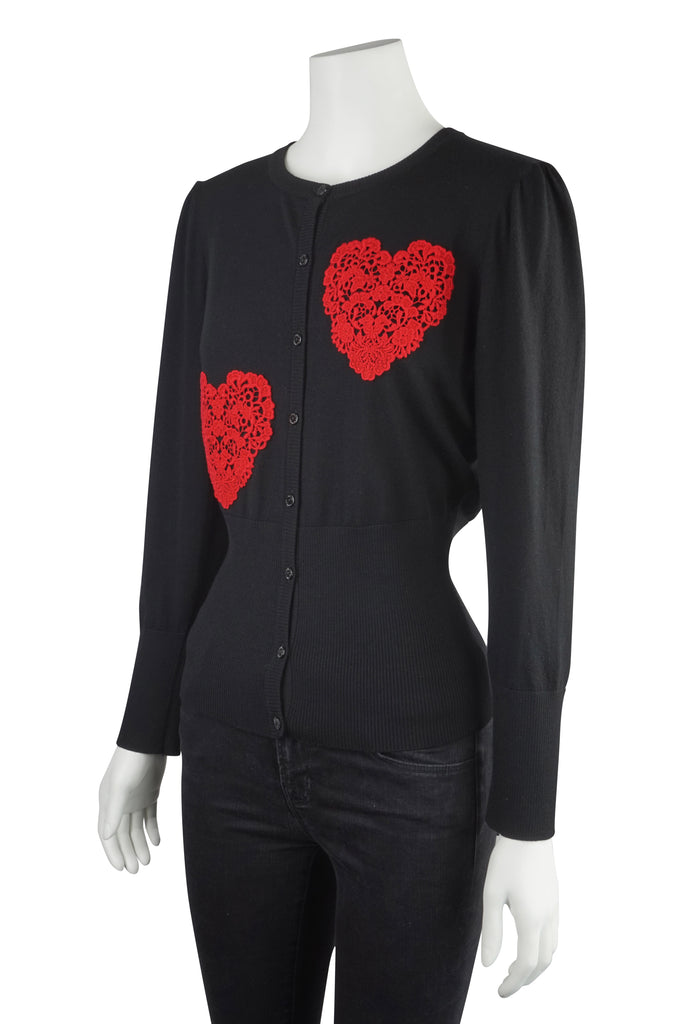 Dolce & Gabbana Red lace heart cardigan