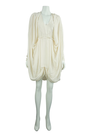 Cream silk drape dress