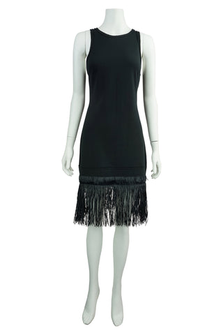 Black raffia fringe dress