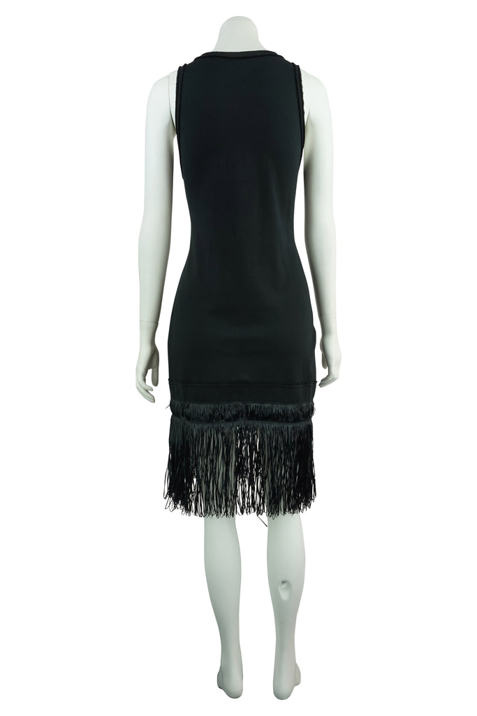 KITX Black raffia fringe dress