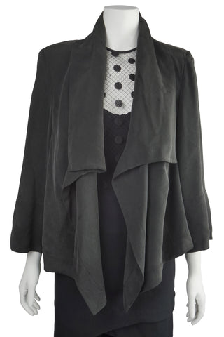 Draped black silk jacket