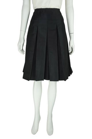 Black tafeta pleat skirt