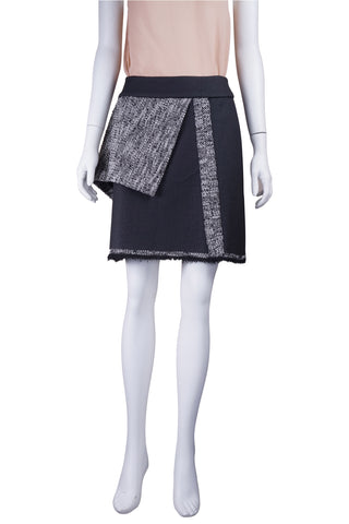 Coated tweed panel skirt