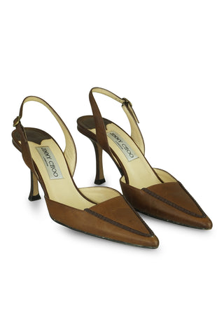 Ranch chocolate leather slingbacks