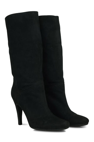 Black suede mid calf boots