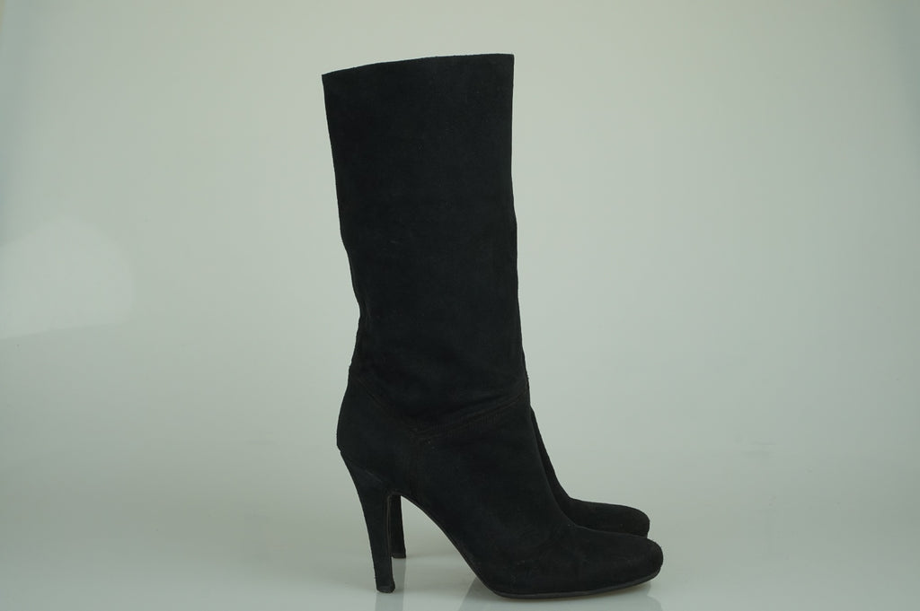 Stella McCartney Black suede mid calf boots