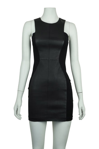 Ginger and smart black leather panel dress